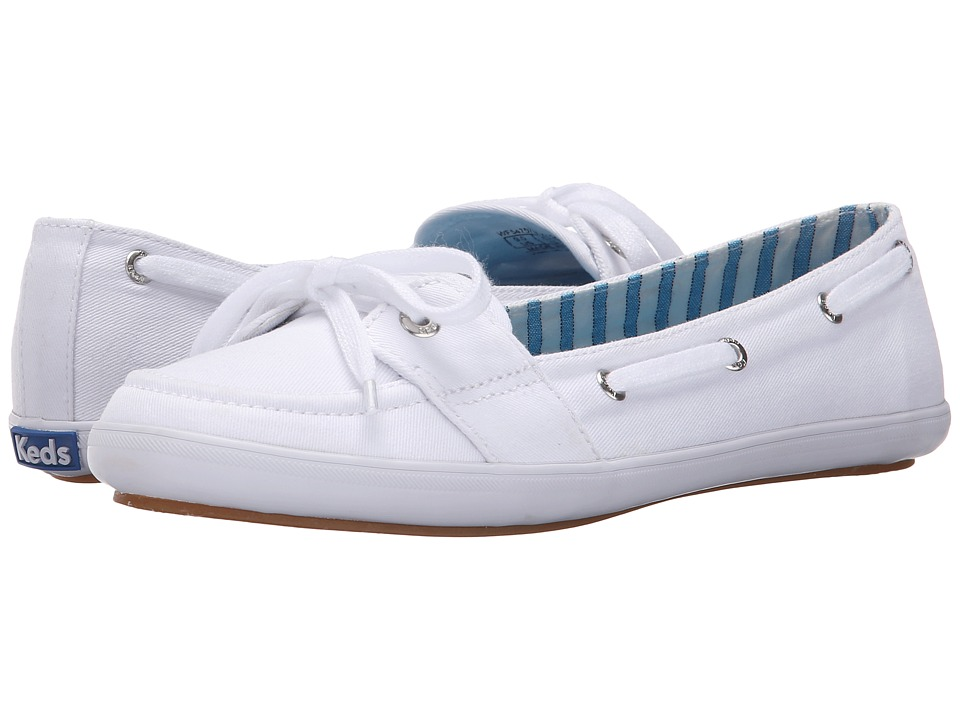 Keds Teacup Boat Seasonal Solid White Womens Lace up casual Shoes