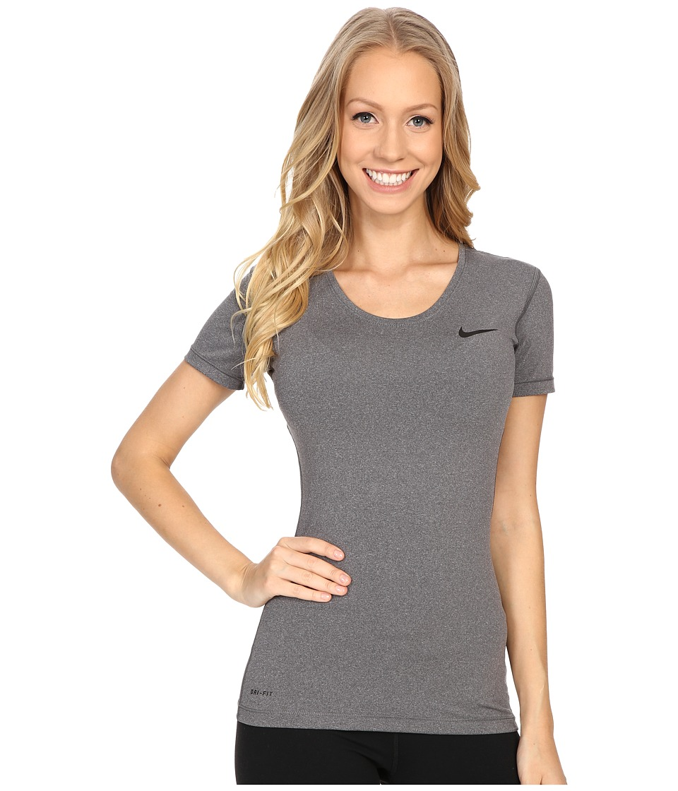 Nike Pro Cool Short Sleeve Shirt (Dark Grey/Heather/Black) Women