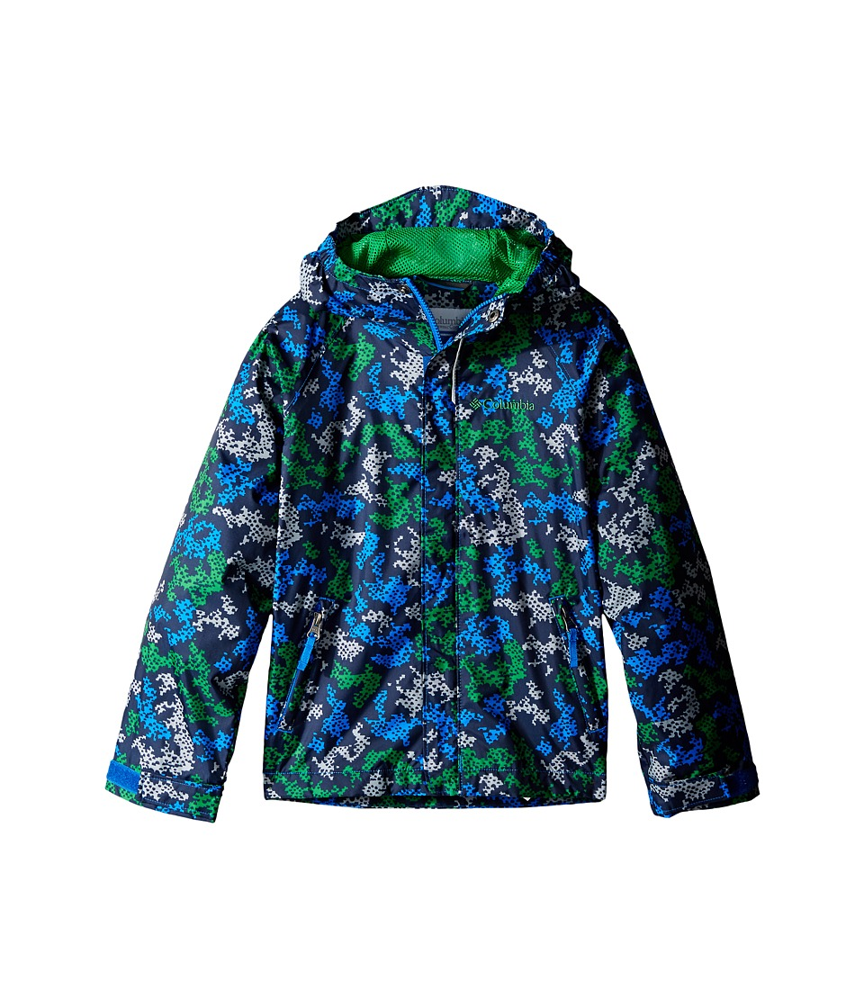 Columbia Kids Fast Curious Rain Jacket Little Kids/Big Kids Fuse Green Camo Boys Coat