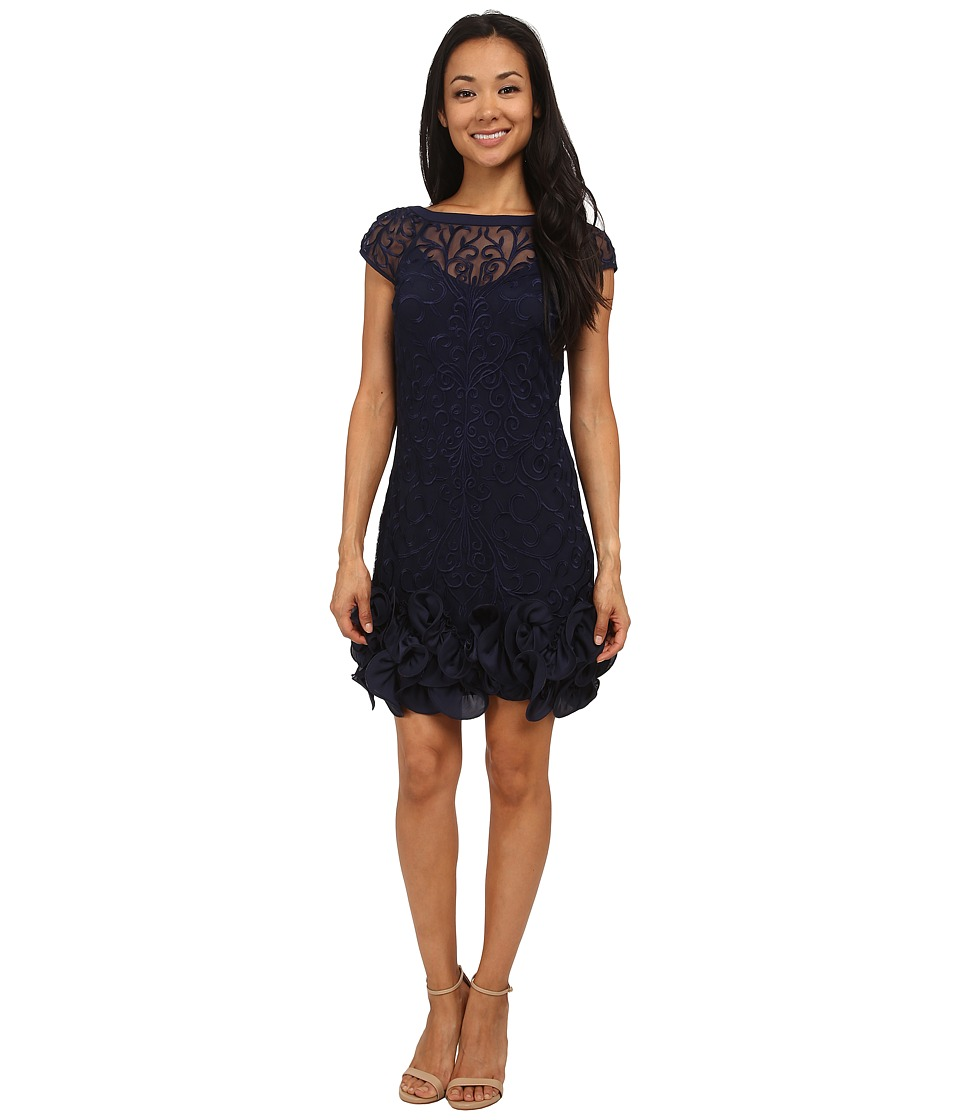 Jessica Simpson Short Tiered Sleeve Dress with Ruffle at Hem (Navy) Women