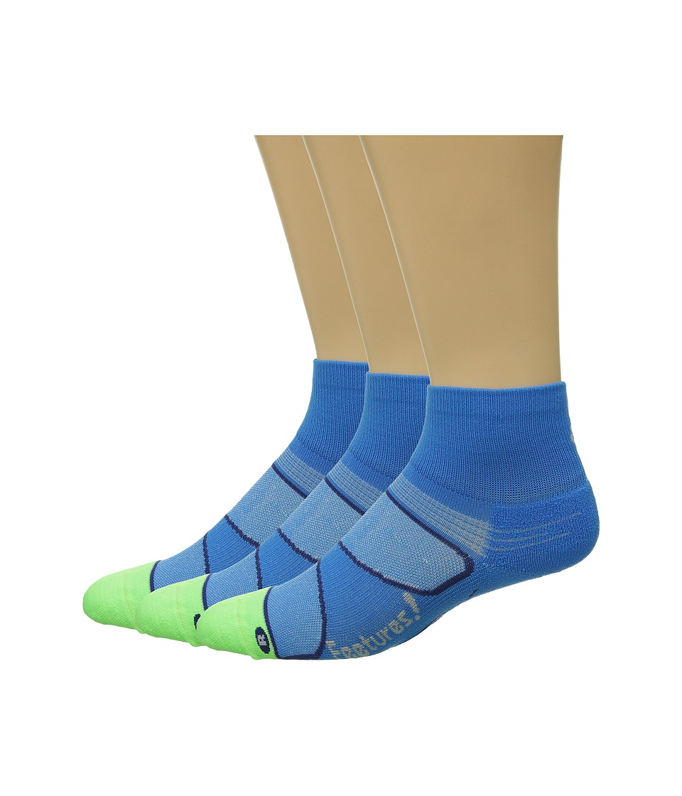 Feetures Elite Light Cushion Quarter 3 Pair Pack Brillant Blue/Silver Quarter Length Socks Shoes