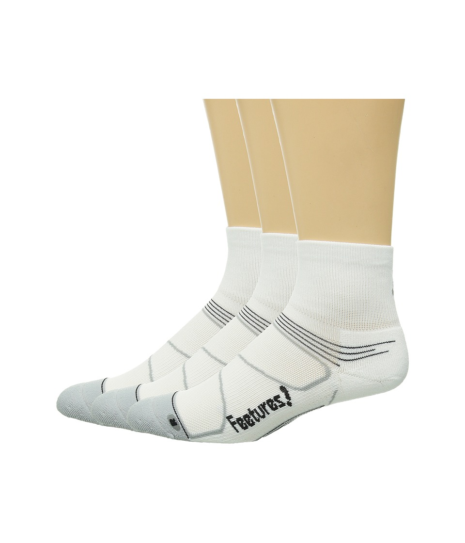 Feetures Elite Light Cushion Quarter 3 Pair Pack White/Black Quarter Length Socks Shoes