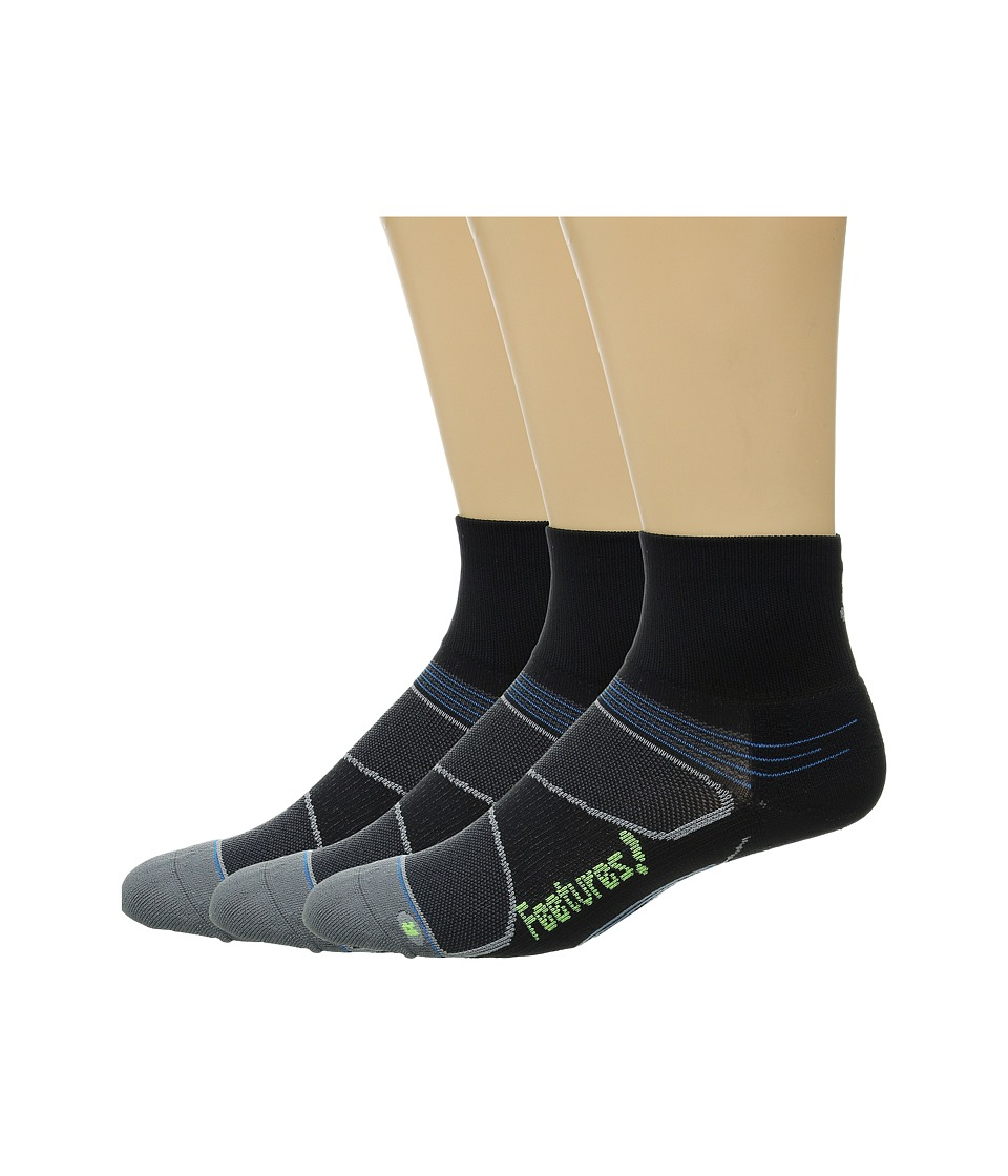 Feetures Elite Light Cushion Quarter 3 Pair Pack Reflector/Black Quarter Length Socks Shoes