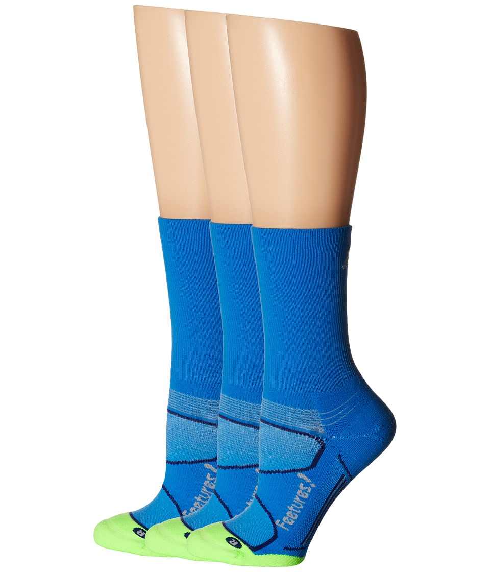 Feetures Elite Light Cushion Mini Crew 3 Pair Pack Brillant Blue/Silver Crew Cut Socks Shoes