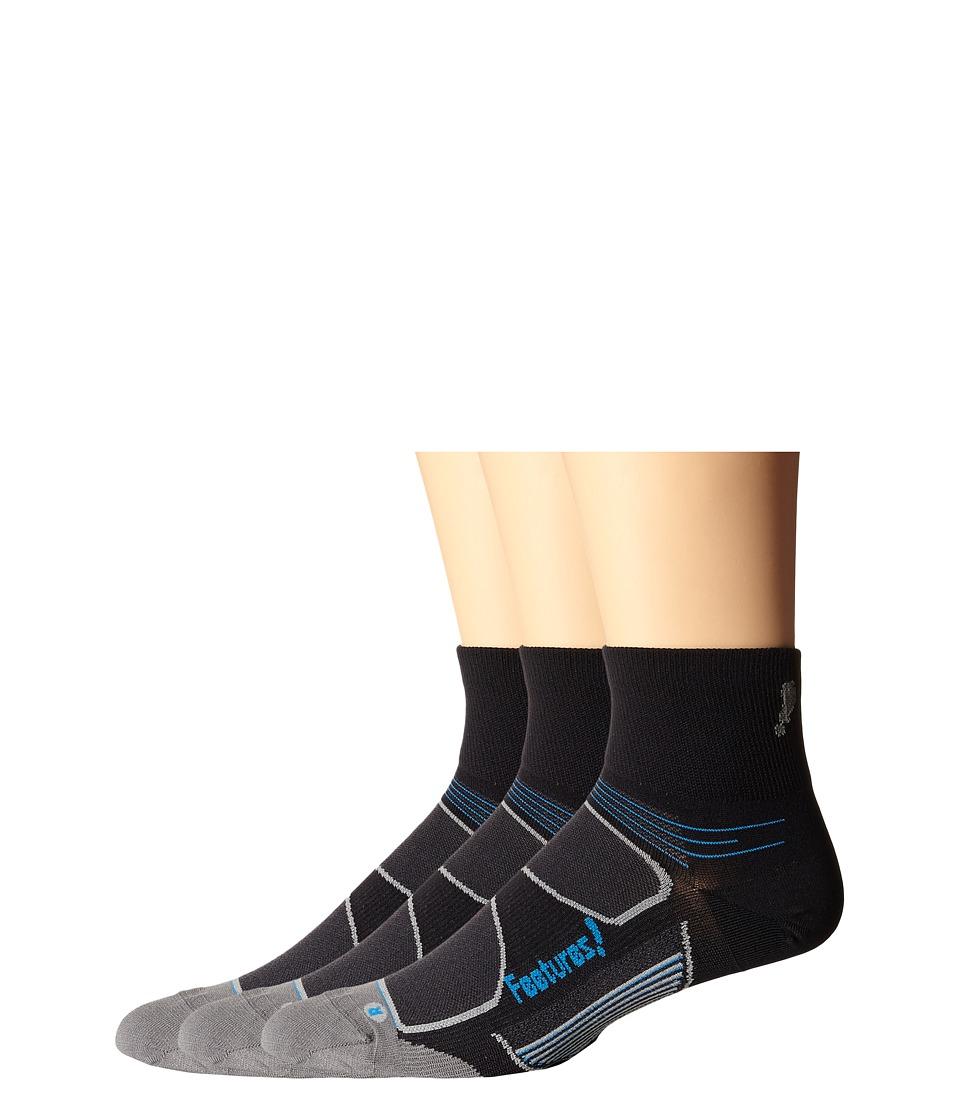 Feetures Eliter Ultra Light Quarter 3 Pair Pack Black/Reflector Crew Cut Socks Shoes