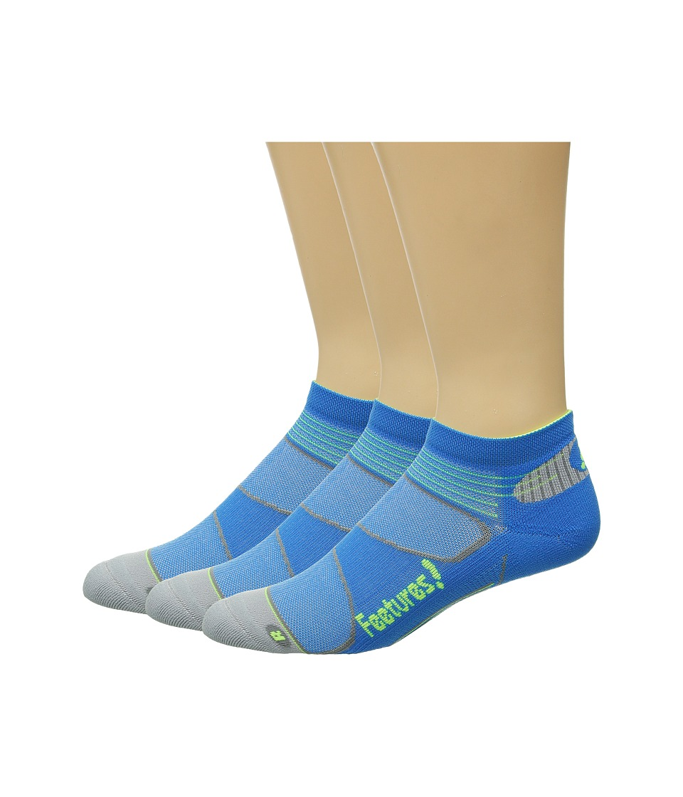 Feetures Elite Light Cushion Low Cut 3 Pair Pack Brillant Blue/Reflector Low Cut Socks Shoes