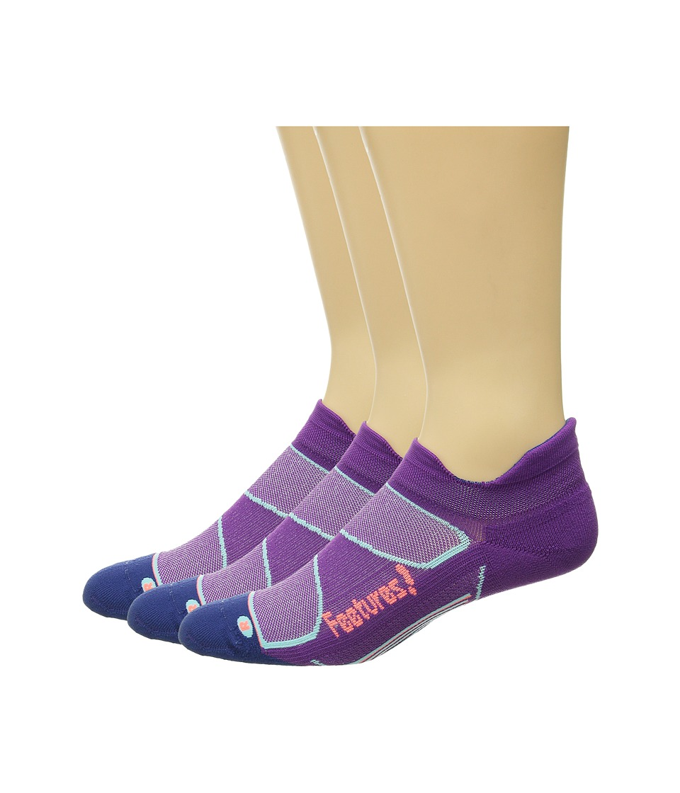 Feetures Elite Light Cushion No Show Tab 3 Pair Pack Ultraviolet/Coral No Show Socks Shoes