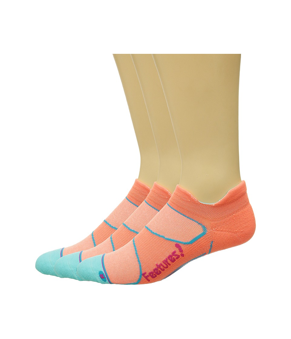 Feetures Elite Light Cushion No Show Tab 3 Pair Pack Coral/Deep Pink No Show Socks Shoes