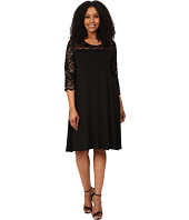 Karen Kane Plus - Plus Size 3/4 Sleeve Lace Yoke Swing Dress