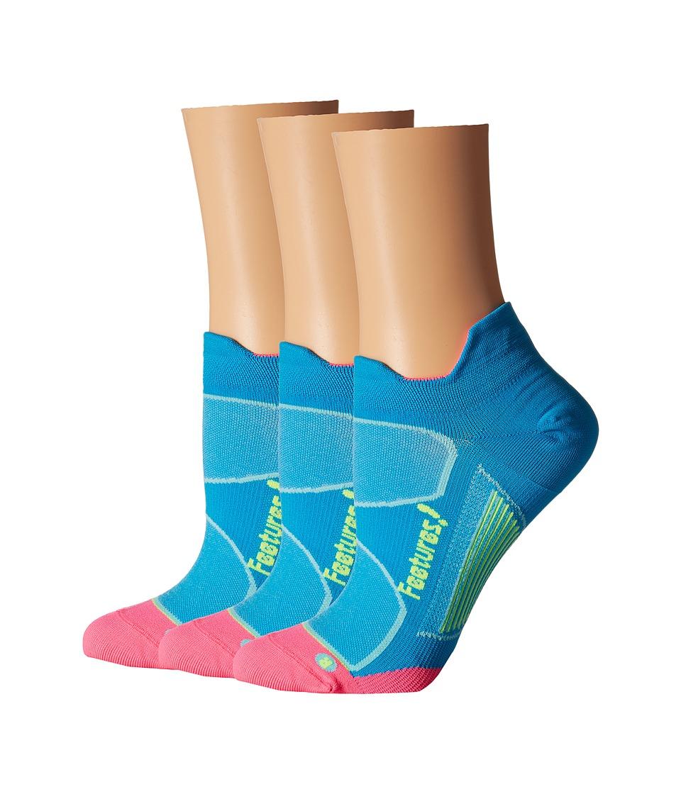 Feetures Elite Ultra Light No Show Tab 3 Pair Pack Hawaiian Blue/Reflector No Show Socks Shoes