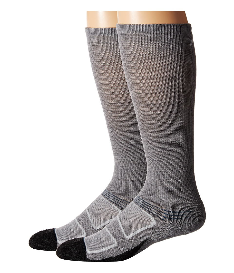 Feetures - Elite Merino+ Light Cushion Crew 2-Pair Pack (Grey/Pacific Blue) Crew Cut Socks Shoes