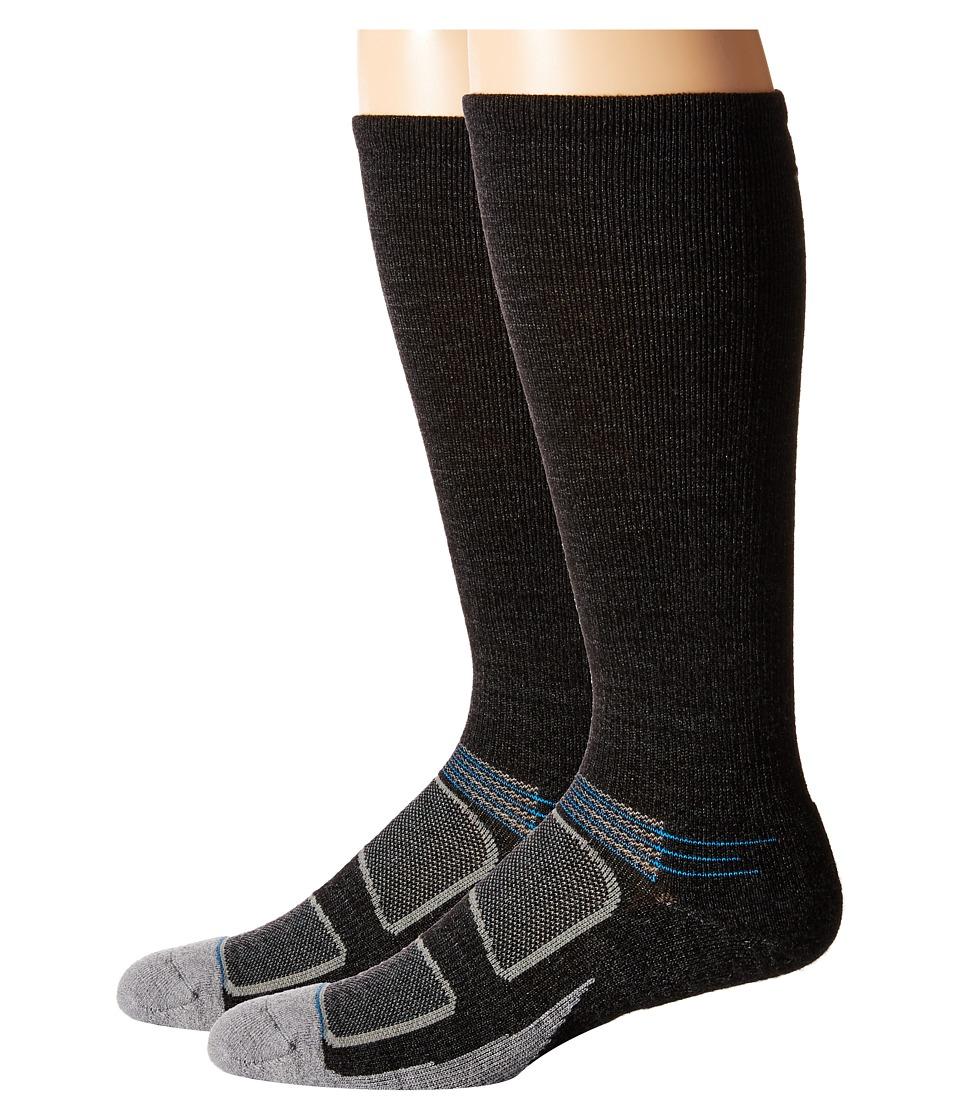 Feetures Elite Merino Light Cushion Crew 2 Pair Pack Charcoal/Brilliant Blue Crew Cut Socks Shoes