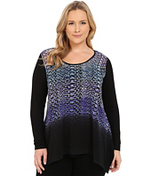 Karen Kane Plus - Plus Size Polar Stripe Handkerchief Top