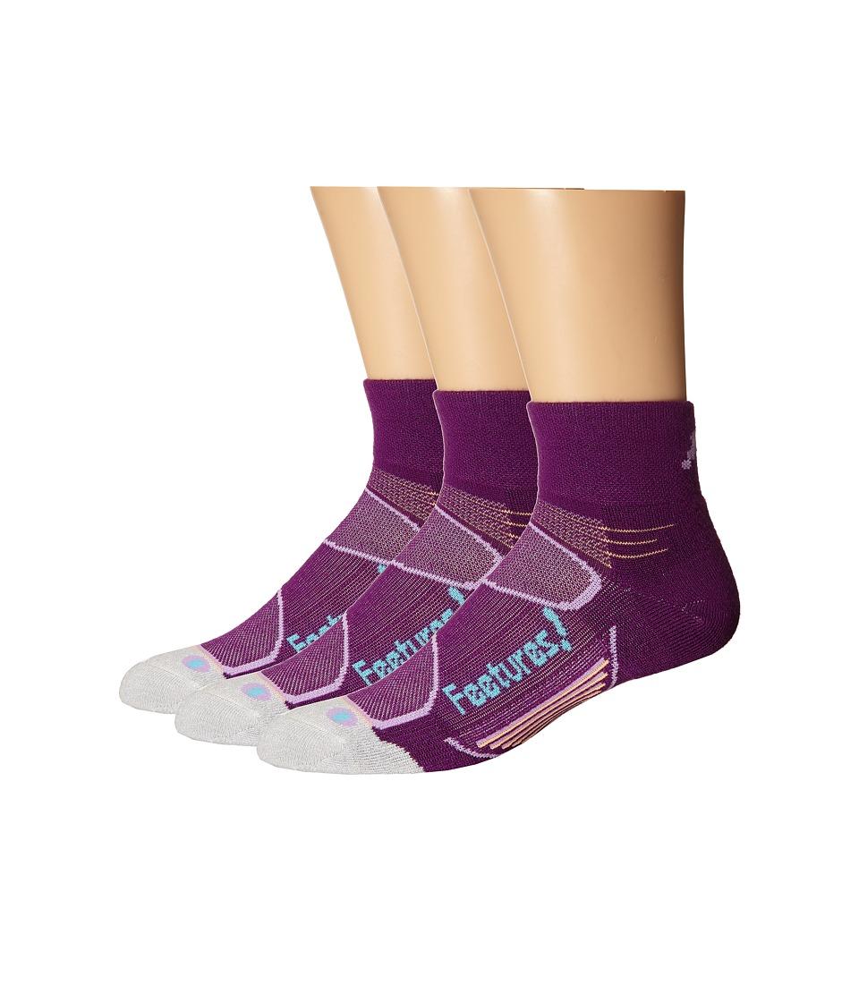 Feetures Elite Merino Light Cushion Quarter 3 Pair Pack Ultraviolet/Sky Blue Quarter Length Socks Shoes
