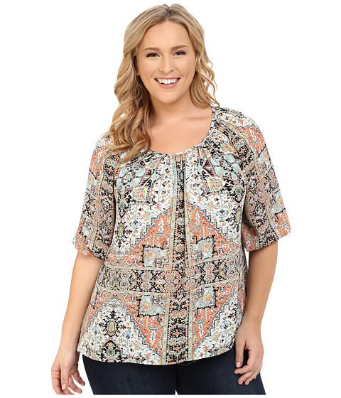 Karen Kane Plus - Plus Size 3/4 Sleeve Hi-Lo Peasant Top (Print) Women's Clothing