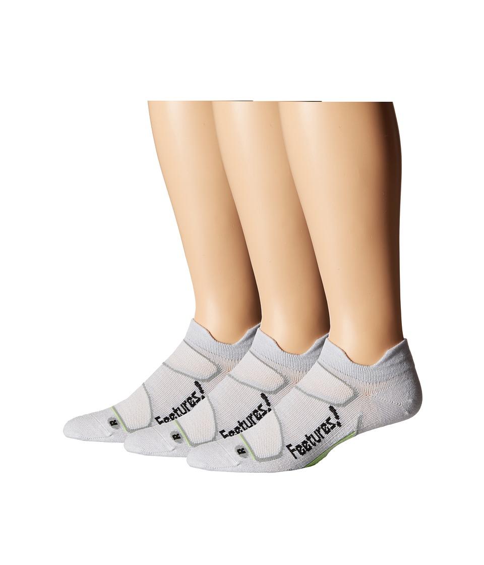 Feetures Elite Merino Ultra Light No Show Tab 3 Pair Pack Silver/Black No Show Socks Shoes