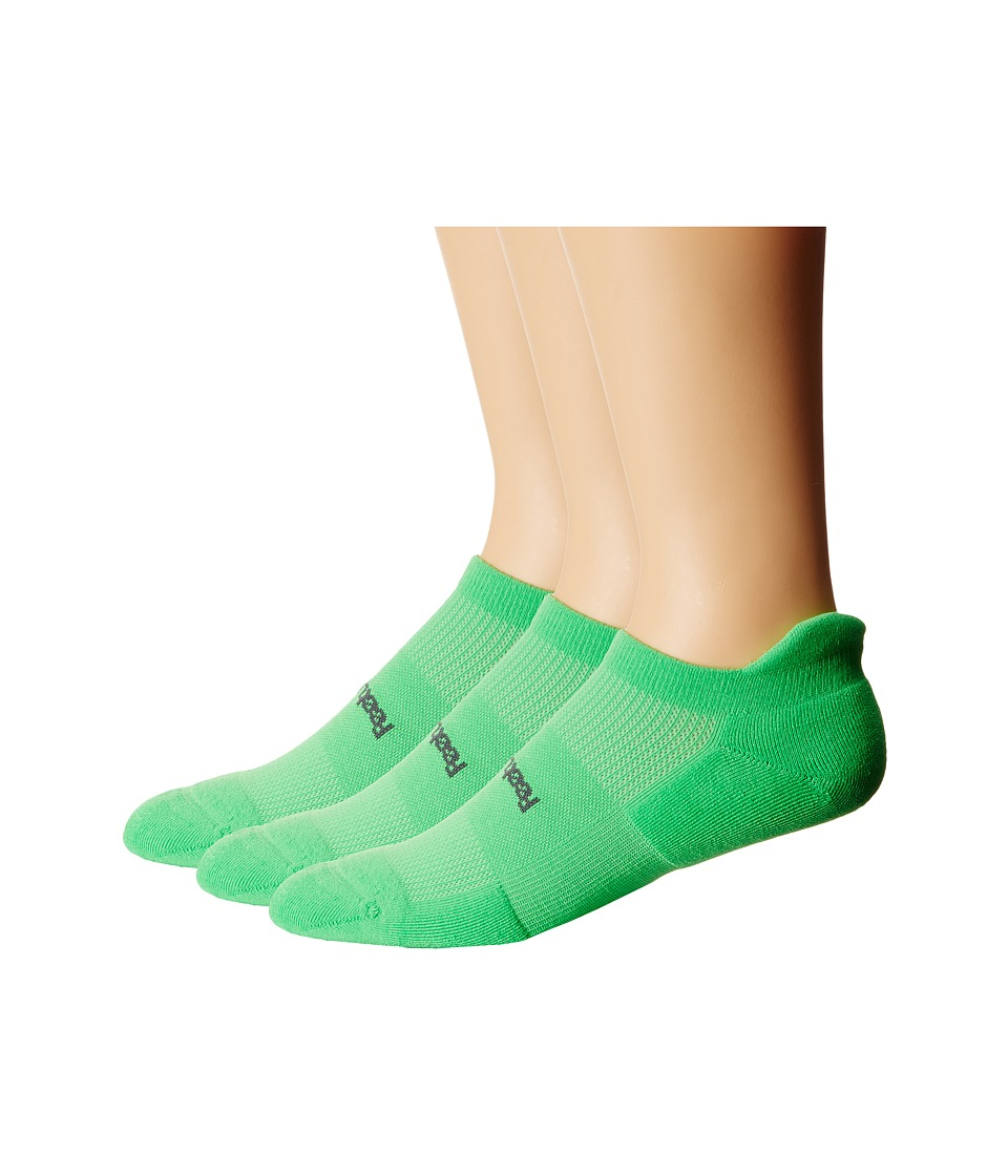 Feetures High Performance Light Cushion No Show Tab 3 Pair Pack Electric Green No Show Socks Shoes
