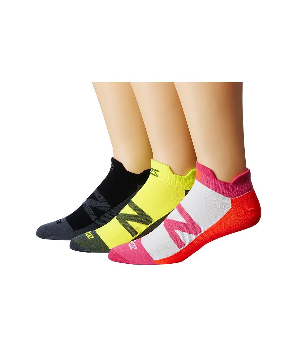 Zensah Invisi Running Sock 3-Pack (Black/Hot Pink/Neon Or...