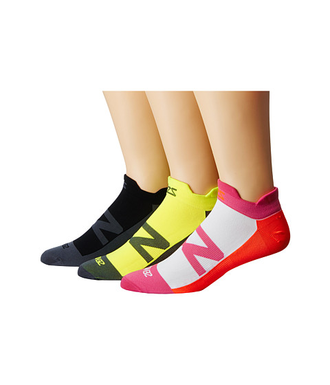 Zensah Invisi Running Sock 3-Pack - Black/Hot Pink/Neon Orange/Neon Yellow
