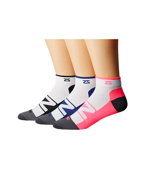 Zensah Peek Running Sock 3-Pack - White/Black/White/Neon Pink/White/Navy
