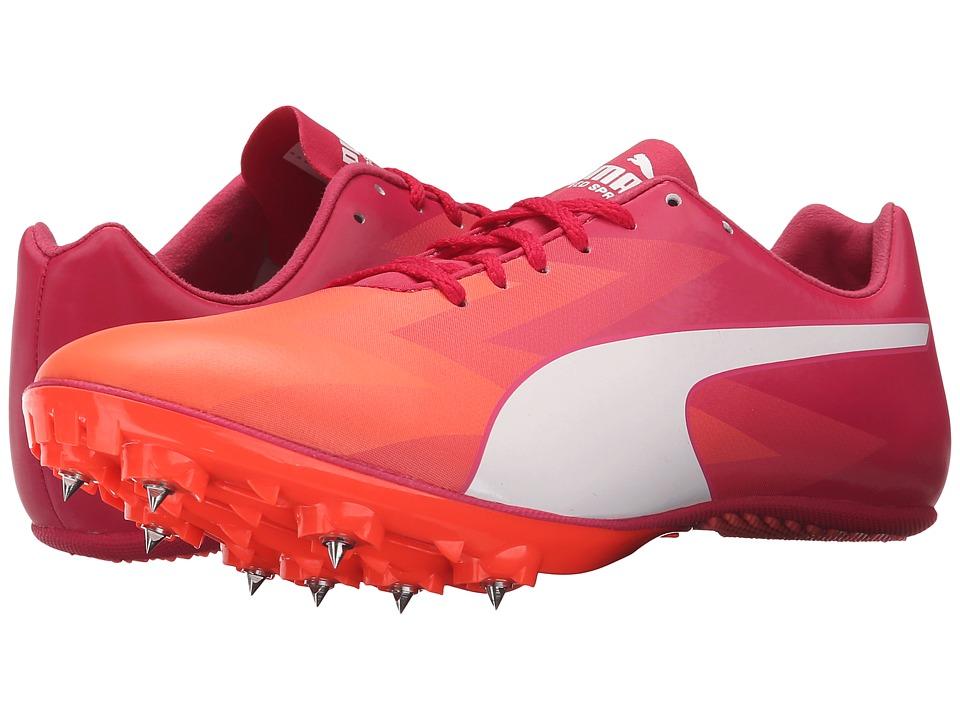 PUMA - evoSPEED Sprint v6 (Fluo Peach/White/Rose Red) Womens Running Shoes