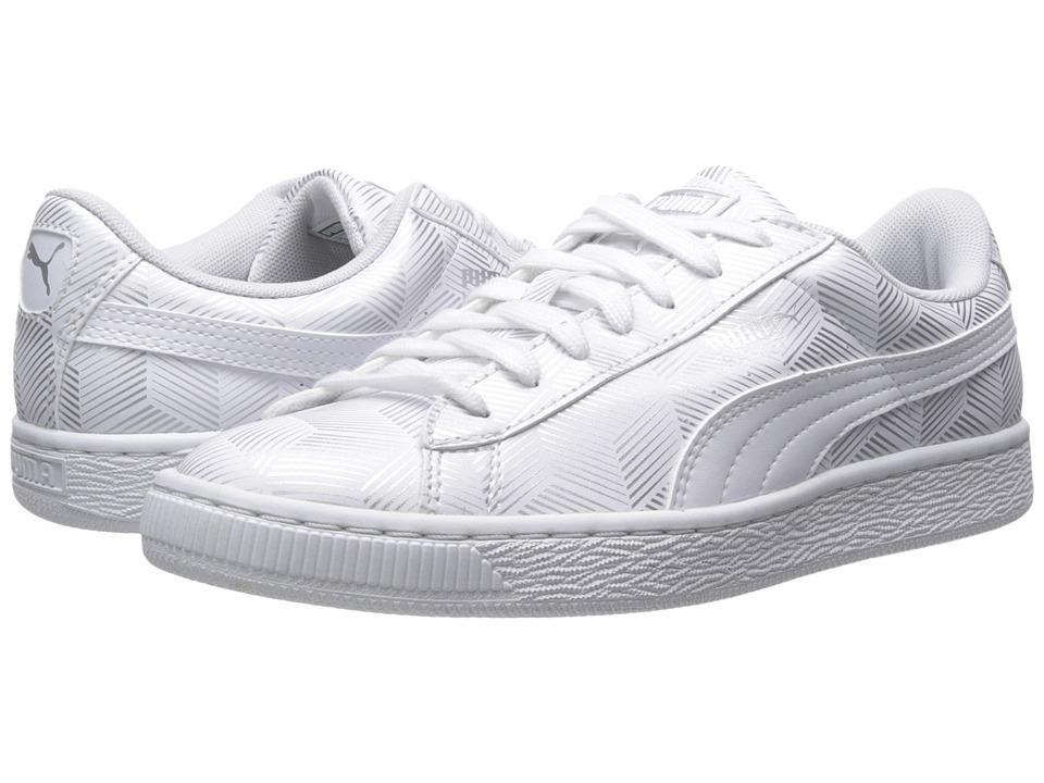 PUMA Basket Classic Metallic White Womens Shoes