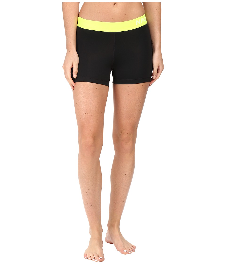 Nike Pro 3 Cool Compression Training Short (Black/Volt/White) Women