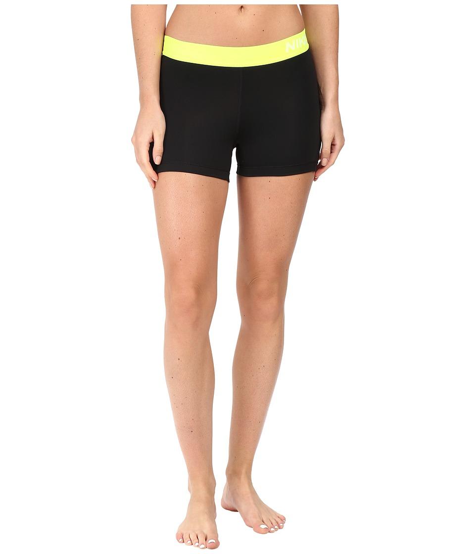 Nike Pro 3 Cool Compression Training Short (Black/Volt/White) Women
