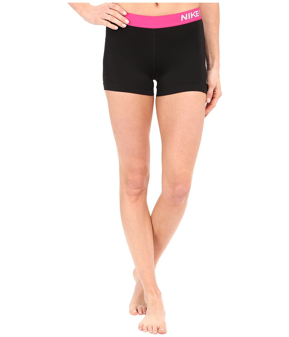 Nike Pro 3 Cool Compression Training Short (Black/Vivid Pink/White) Women