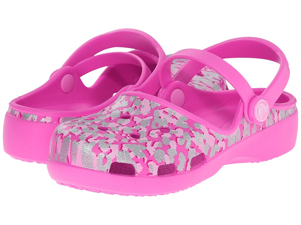 Crocs Kids Karin Sparkle Leopard Clog Toddler/ Little Kid Party Pink Girls Shoes