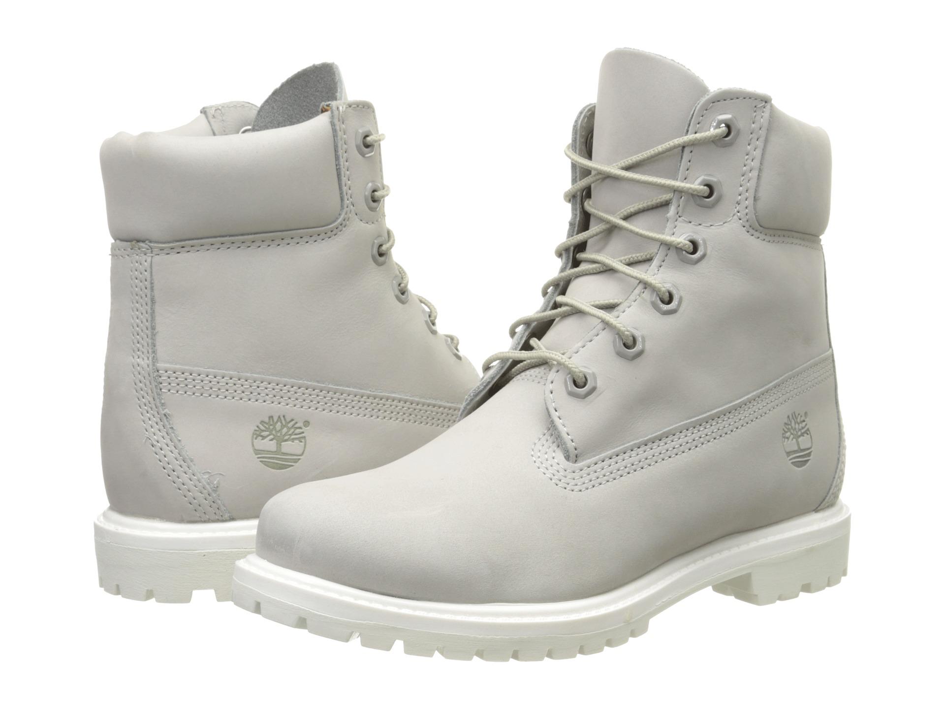 Timberland 6 Premium Boot Light Grey Nubuck Zapposcom
