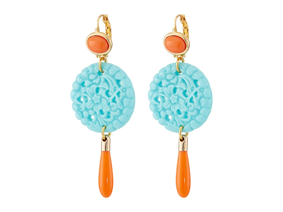 Kenneth Jay Lane - 7849ECTCP Small Gold and Top with Carved and Drop wire Earrings (Coral/Turquoise) Earring