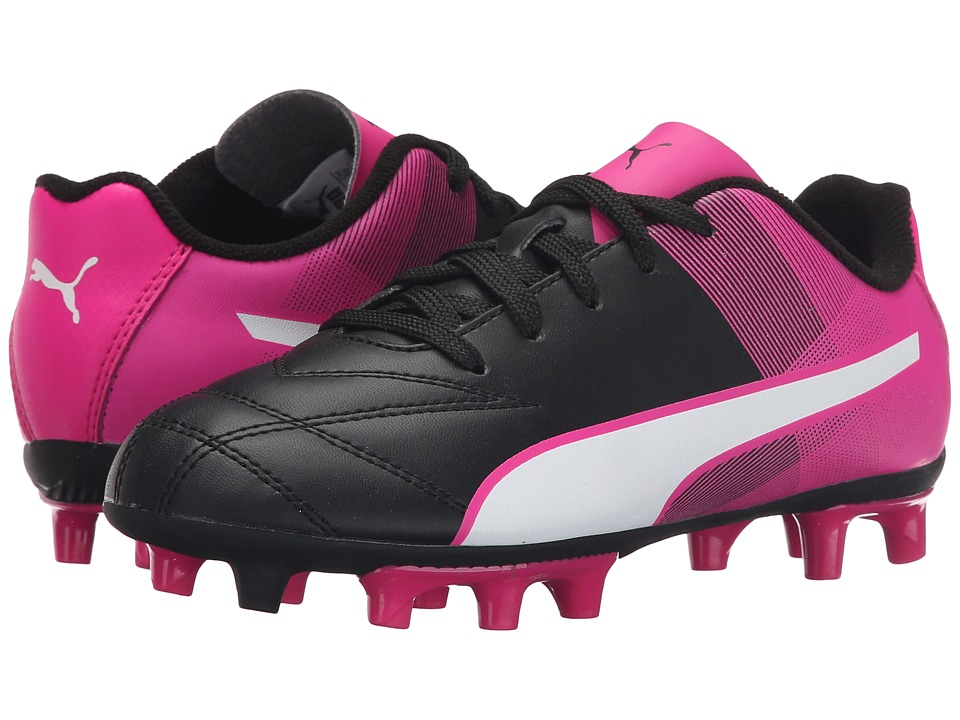 Puma Kids Adreno II FG Jr Little Kid/Big Kid Black/White/Pink Glo Kids Shoes