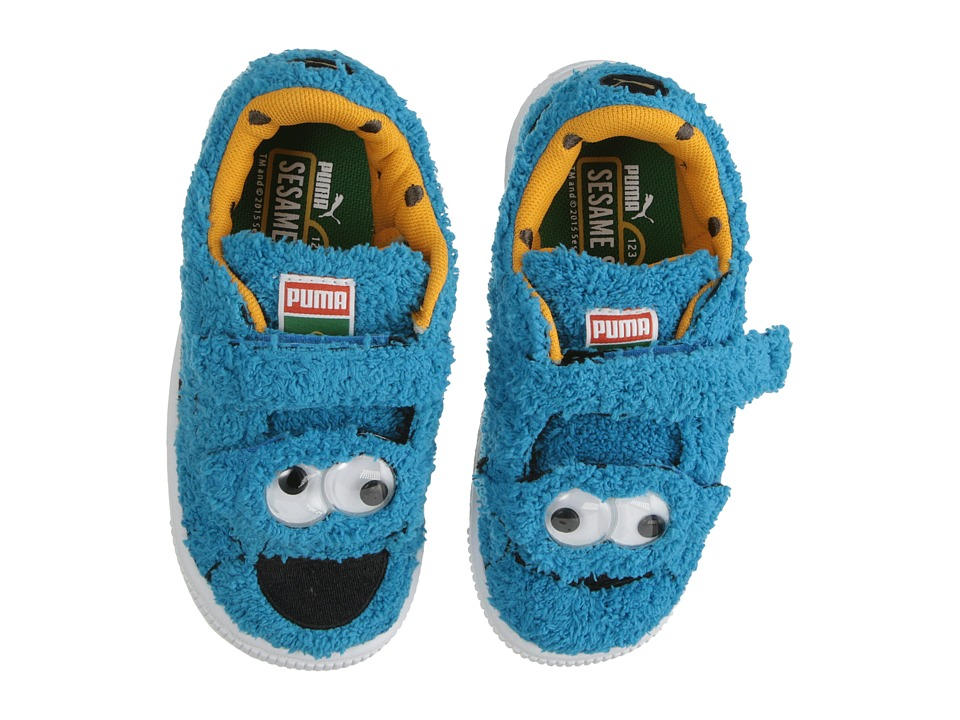 Puma Kids Basket Sesame Street Statement Cookie Monster Toddler/Little Kid/Big Kid Atomic Blue/Black Kids Shoes
