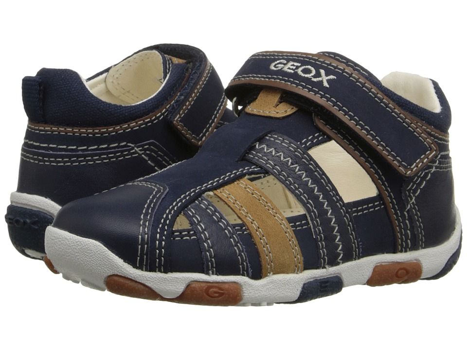 Geox Kids Baby Balu Boy 51 Infant/Toddler Navy/Caramel Boys Shoes