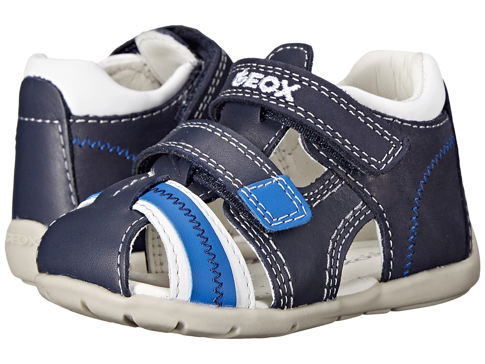 Geox Kids Baby Kaytan Boy 18 Infant/Toddler Navy/White Boys Shoes