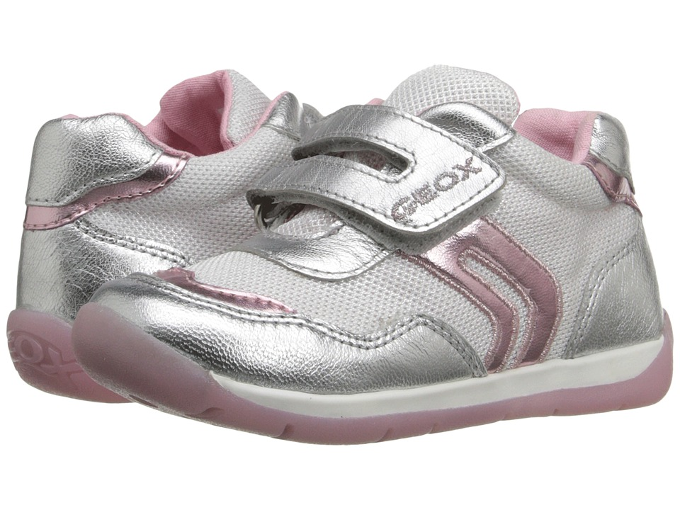 Geox Kids Baby Each Girl 4 Infant/Toddler White/Silver Girls Shoes