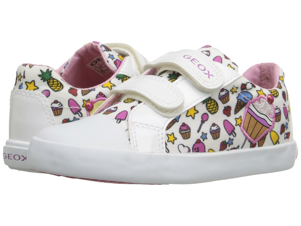 Geox Kids Baby Kiwi Girl 69 Toddler White/Multicolor Girls Shoes