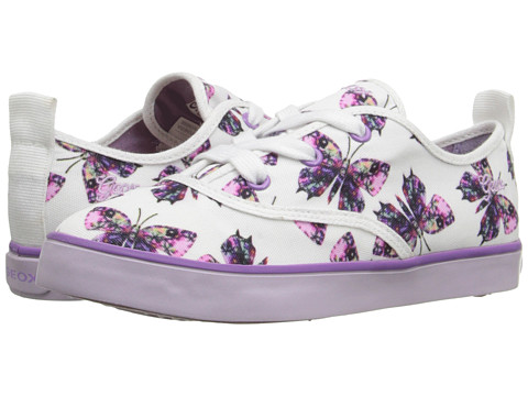 Geox Kids Jr Ciak Girl 43 (Little Kid/Big Kid) - White/Lilac
