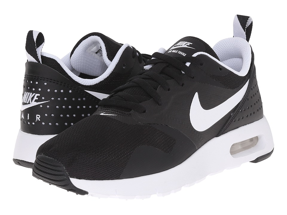 Nike Kids Air Max Tavas GS (Big Kid) (Black/White) Boys Shoes
