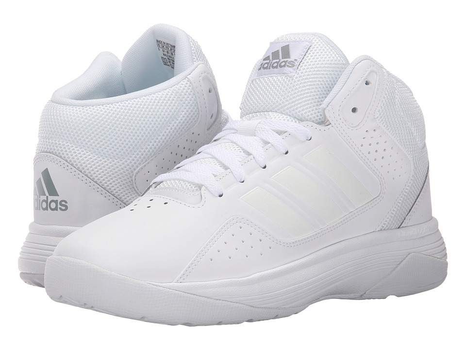 adidas - Cloudfoam Ilation Mid (White/White/Clear Onix) Mens Basketball Shoes