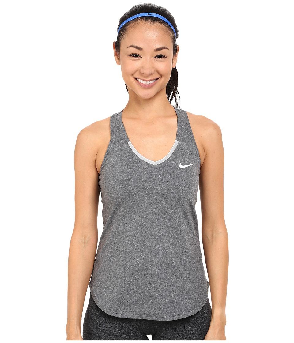 Nike Court Team Pure Tennis Tank Top Dark Grey/White Womens Sleeveless
