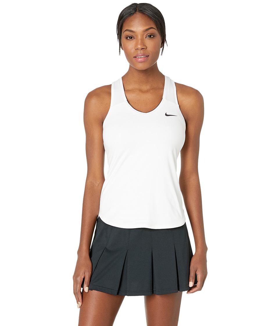 Nike Court Team Pure Tennis Tank Top White/Black Womens Sleeveless