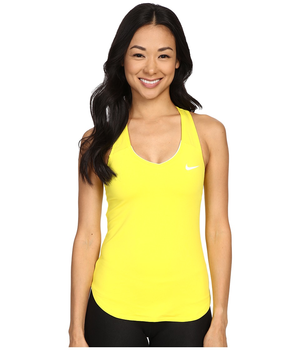 Nike Court Team Pure Tennis Tank Top Opti Yellow/White Womens Sleeveless