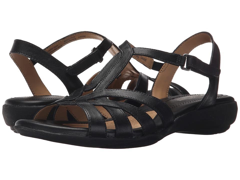 Naturalizer Cassie Black Leather Womens Sandals