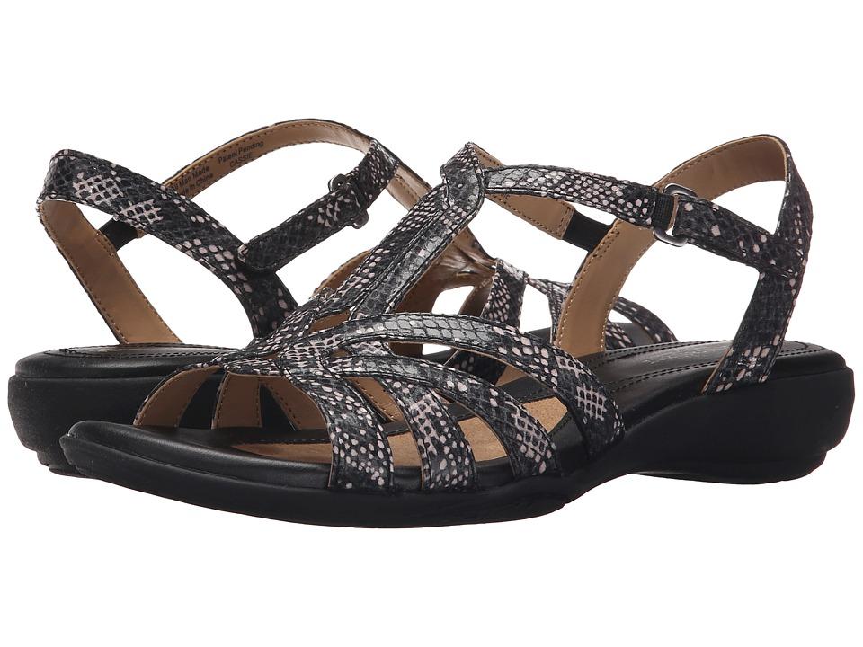 Naturalizer Cassie Black/White Spot Printed Snake Womens Sandals