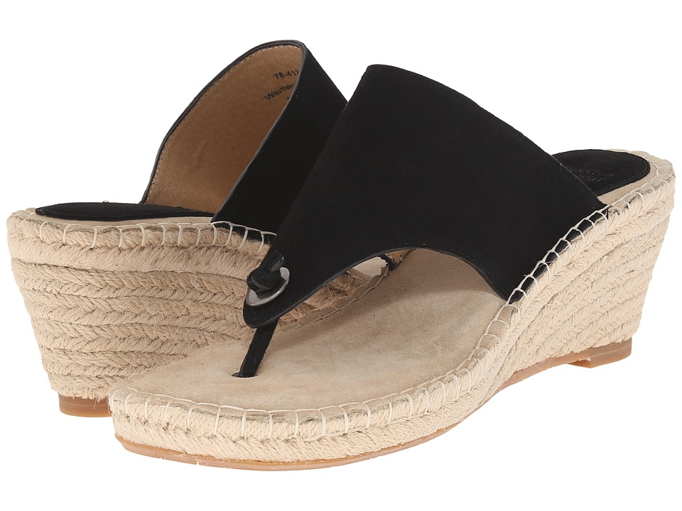 Johnston amp Murphy Ainsley Thong Black Kid Suede Womens Sandals