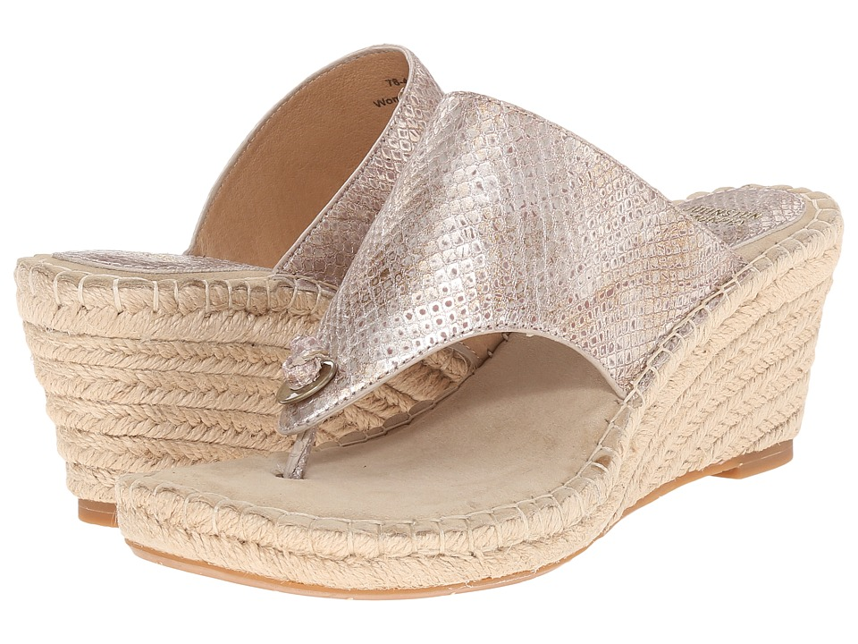 Johnston amp Murphy Ainsley Thong Champagne Metallic Snake Print Womens Sandals