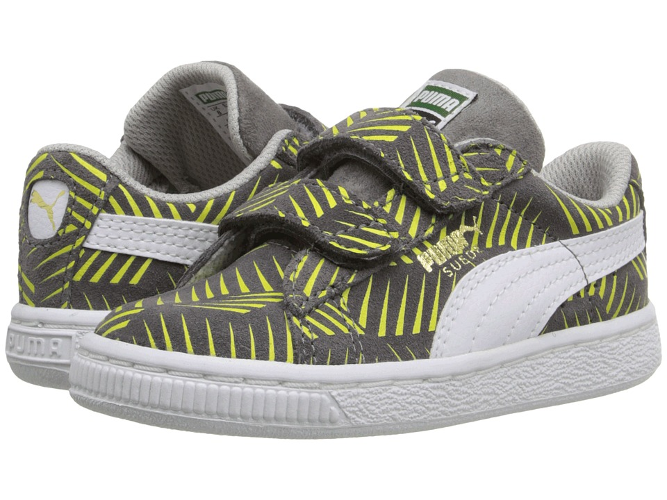 Puma Kids - Suede Geofetti V (Toddler/Little Kid/Big Kid) (Steel Gray/Lime Punch/White) Boys Shoes