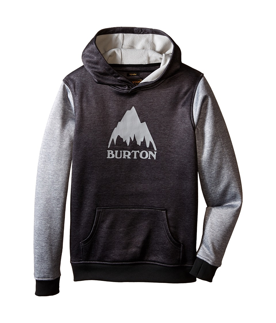 Burton Kids Crown Bonded Pullover Hoodie Little Kids/Big Kids True Black/High Rise Heather Boys Sweatshirt